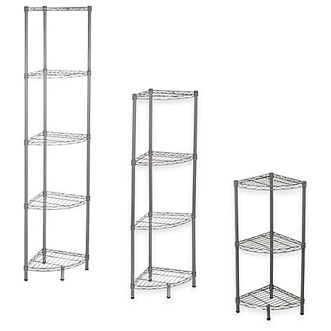 Home Basics 174 Wire Corner Shelf In Steel Grey Bed Bath