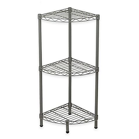 Buy Home Basics® 3-Tier Wire Corner Shelf in Steel Grey