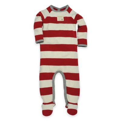 Burt's Bees Baby™ Size 6-9M Rugby Stripe Footie in Red/White