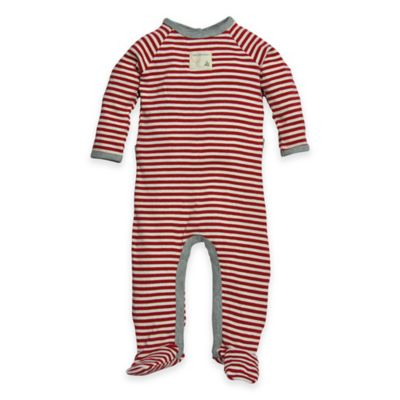 Burt's Bees Baby® Size 6-9M Organic Cotton Candy Cane Thin Stripe Footie in Red/White