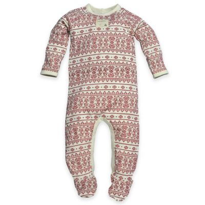 Burt's Bees Baby® Newborn Organic Cotton Fair Isle Bee Footie in Red/White