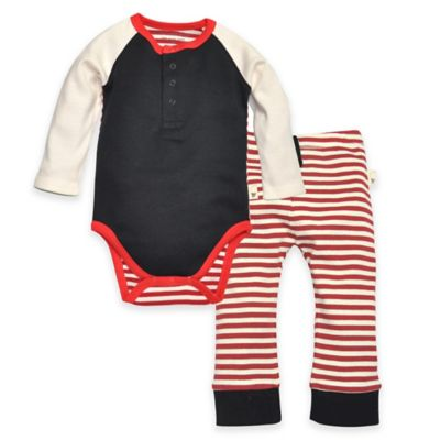Burt's Bees Baby® Newborn Organic Cotton Colorblock Bodysuit and Pant Set in Black/Red