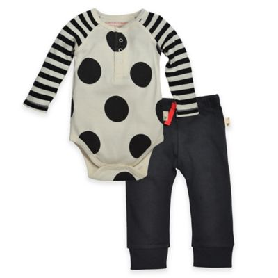 Burt's Bees Baby® Size 6-9M Organic Cotton Polka Dot Bodysuit and Pant Set in Black/Ivory