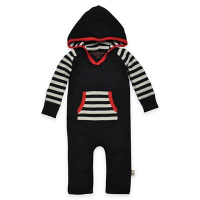 Burt's Bees Baby® Size 6-9M Organic Cotton Colorblock Hooded Coverall in Black/Red