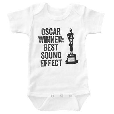 "Posh365 Size 0-3M ""Oscar Winner: Best Sound Effect"" Bodysuit in White"
