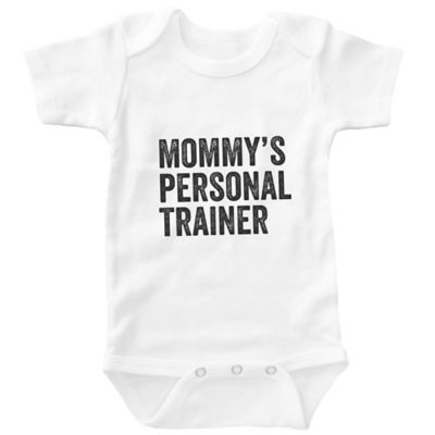 "Posh365 Size 6-12M ""Mommy's Personal Trainer"" Bodysuit in White"