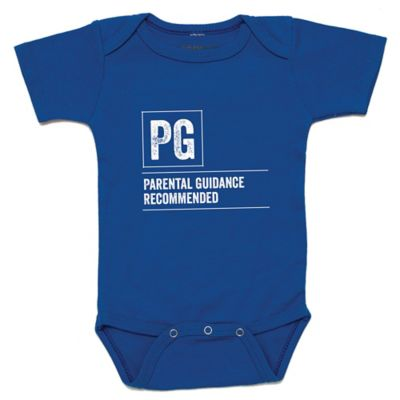 """Posh365 Size 12-18M """"PG Parental Guidance Recommended"""" Bodysuit in Royal Blue"""