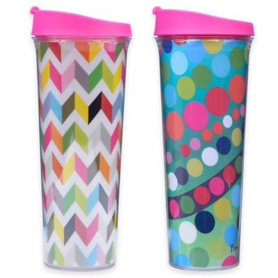 French Bull® Bindi 24 oz. Drinkup Travel Mug in Pink/Blue