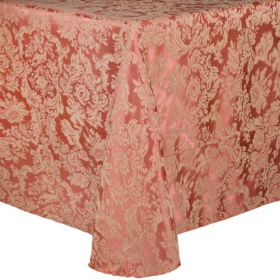 Miranda Elegant Two-Tone Damask 90-Inch x 132-Inch Round Tablecloth in Pink