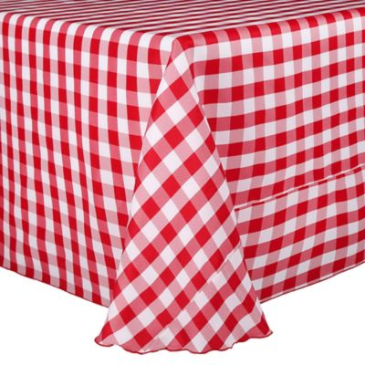 Gingham Poly Check 90-Inch x 132-Inch Tablecloth in Black/White