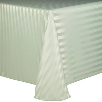 Poly Stripe 60-Inch x 90-Inch Oblong Tablecloth in White