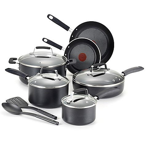 T Fal Kitchen  Piece Cookware Set Stainless Steel Copper Bottom