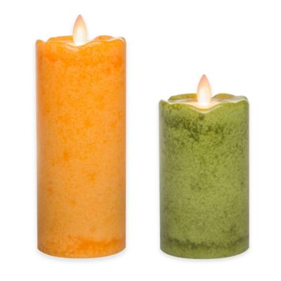 Mirage® 5-Inch Sage Flowers Flickering Flame LED Pillar Candle
