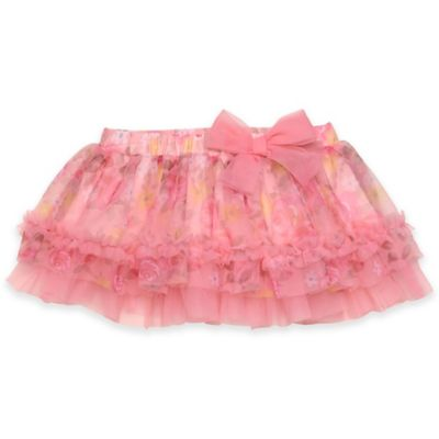 Baby Starters® Rose Floral Print Tutu Skirt in Coral/Pink