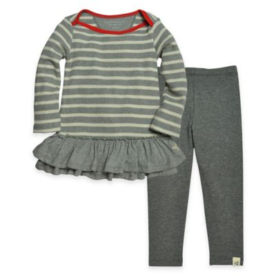 Burt's Bees Baby™ Size 3-6M 2-Piece Organic Cotton Stripe Thermal Dress and Legging Set in Grey