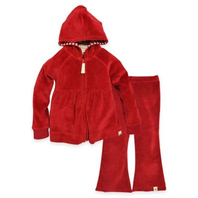 Burt's Bees Baby™ Size 3-6M 2-Piece Velour Hoodie and Pant Set in Red
