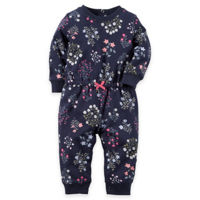 Carter's® Size 9M Long-Sleeve French Terry Flower Print Romper in Navy