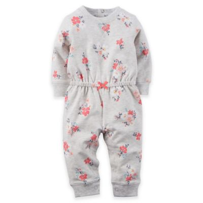 Carter's® Newborn Long-Sleeve French Terry Flower Print Romper in Grey