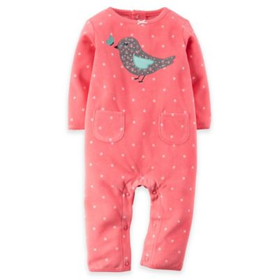 Carter's® Newborn Long-Sleeve Fleece Bird Romper in Pink