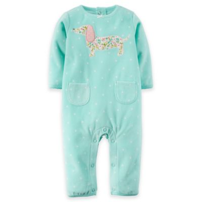 Carter's® Size 6M Long-Sleeve Fleece Dog Romper in Aqua