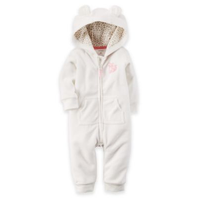 Carter's® Size 3M Long-Sleeve Hooded Fleece Romper in Ivory