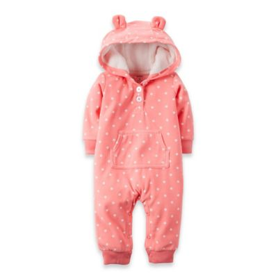 Carter's® Size 3M Hooded Microfleece Bear Dot Romper in Peach