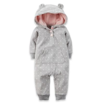Carter's® Size 3M Hooded Microfleece Fox Dot Romper in Grey