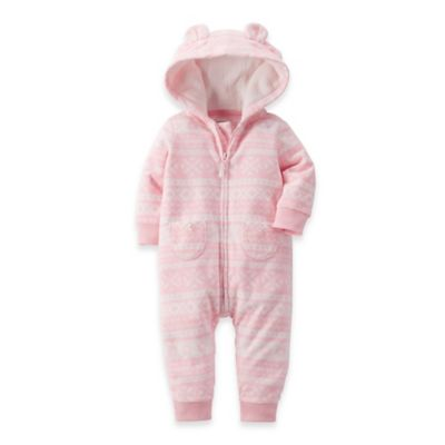 Carter's® Size 3M Hooded Microfleece Fair Isle Romper in Pink/White