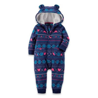 Carter's® Newborn Hooded Microfleece Fair Isle Romper in Blue/Fuchsia