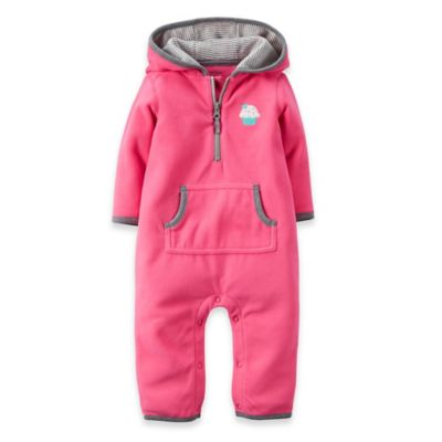 Carter's® Size 12M Cupcake Hooded Microfleece Romper in Fuchsia/Grey