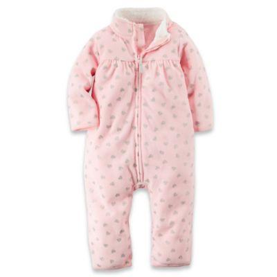 carter's® Size 3M Zip-Front Long Sleeve Glitter Heart Fleece Romper in Pink/Silver