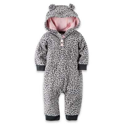 carter's® Size 9M Hooded Long Sleeve Cheetah Romper in Grey