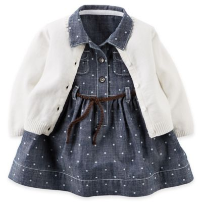 Carter's® Newborn 3-Piece Chambray Dot Shirt Dress, Diaper Cover, and Cardigan Set in Blue/White