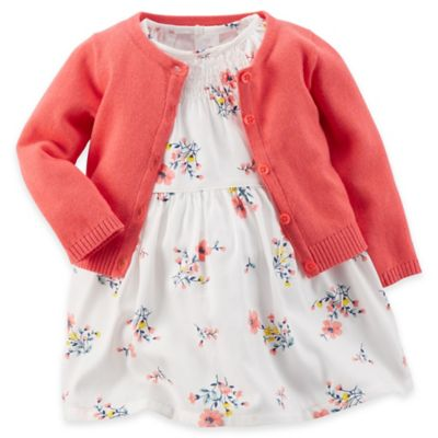 Carter's® Newborn 3-Piece Smocked Floral Dress, Diaper Cover, and Cardigan Set in Ivory/Coral
