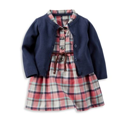 carter's® Newborn 3-Piece Sparkle Plaid Shirt Dress, Diaper Cover, and Cardigan Set in Pink/Blue