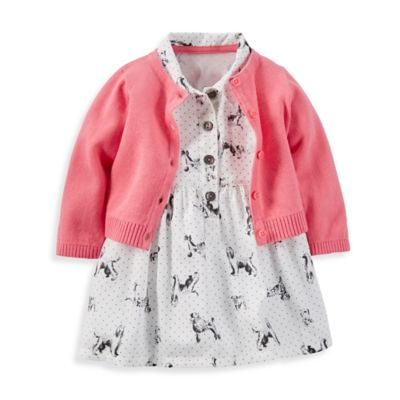 Carter's® Size 3M 3-Piece Dog Print Dress, Diaper Cover, and Cardigan Set in Ivory/Peach