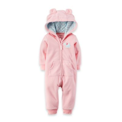Carter's® Size 3M Long-Sleeve Hooded Fleece Elephant Romper in Pink