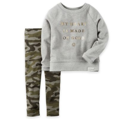 "Carter's® Size 3M ""My Heart is Made of Gold"" 2-Piece French Terry Top and Camo Legging Set"