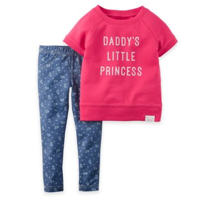 "Carter's® Newborn ""Princess"" 2-Piece Short Sleeve French Terry Top and Floral Legging Set"