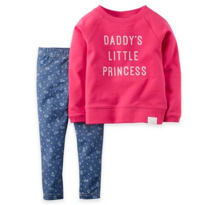 "Carter's® Size 3T ""Princess"" 2-Piece Long Sleeve French Terry Top and Legging Set"