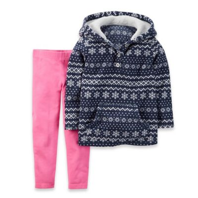 Carter's® Size 3M 2-Piece Fair Isle Fleece Hoodie and Pant Set in Navy/Pink