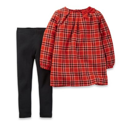 Carter's® Size 3T 2-Piece Sparkly Plaid Long Sleeve Top and Pant Set in Red/Black