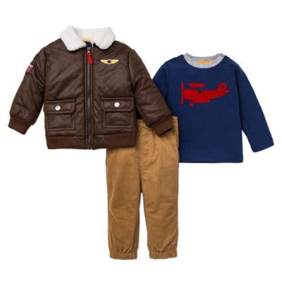 Little Me® Size 24M 3-Piece Aviator Jacket, Shirt, and Pant Set in Khaki