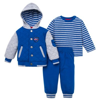 Little Me® Size 12M 3-Piece Car Jacket, Shirt, and Pant Set in Blue
