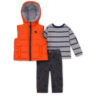 Little Me® Size 12M 3-Piece Bear Hooded Vest, Shirt, and Pant Set in Orange/Grey