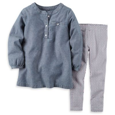carter's Size 12M 2-Piece Long Sleeve Chambray Top and Geo Print Pant Set in Blue