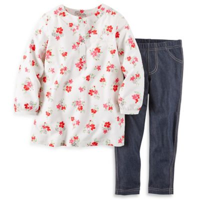 carter's® Size 3M 2-Piece Long Sleeve Floral Top with Denim Pant Set in White