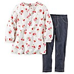 carter's® Size 9M 2-Piece Long Sleeve Floral Top with Denim Pant Set in White