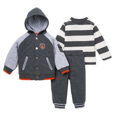 Little Me® Size 12M 3-Piece Sports Hooded Jacket, Shirt, and Pant Set in Heather Grey/White