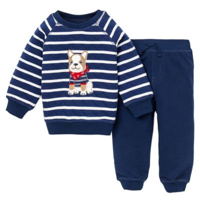 Little Me® Size 12M 2-Piece Dog Quilted Sweatshirt and Pant Set in Navy/White